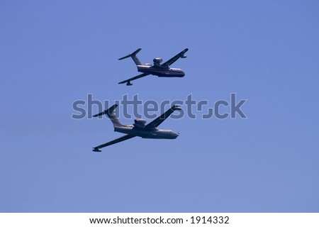 Fire seaplanes - stock photo