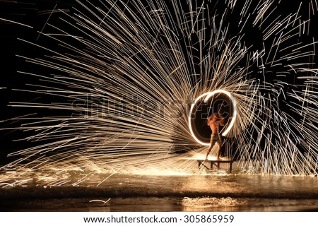 Fire show amazing at night. - stock photo