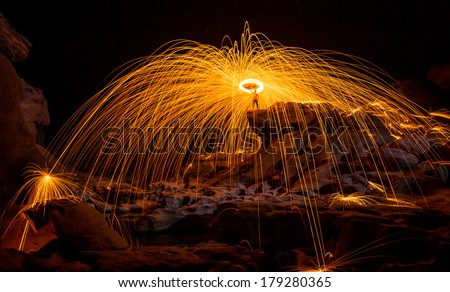 Fire show amazing at night, Sam pan bok, Ubon-ratchathani, North-east of Thailand - stock photo