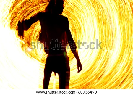 Fire show in Thailand - stock photo