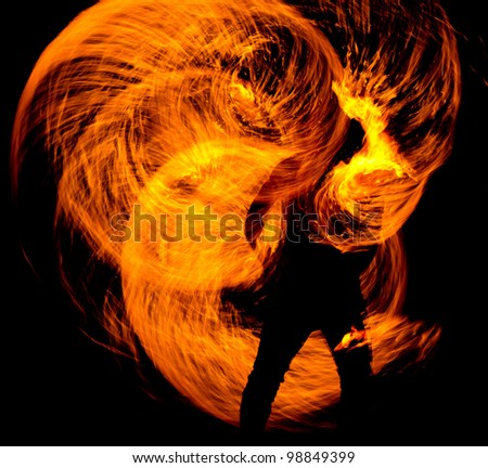 Fire Show Orange Flames - stock photo