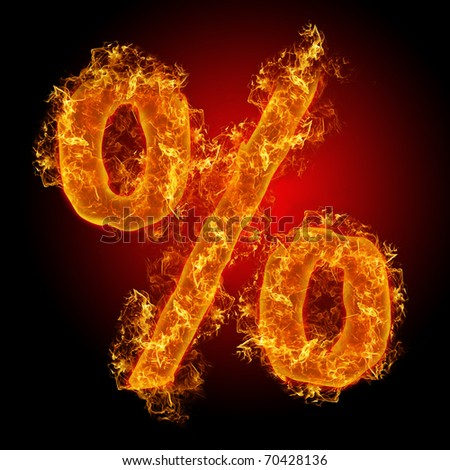 Fire sign Percent on a black background