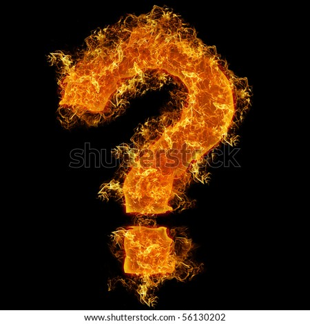 Fire sign query mark on a black background - stock photo