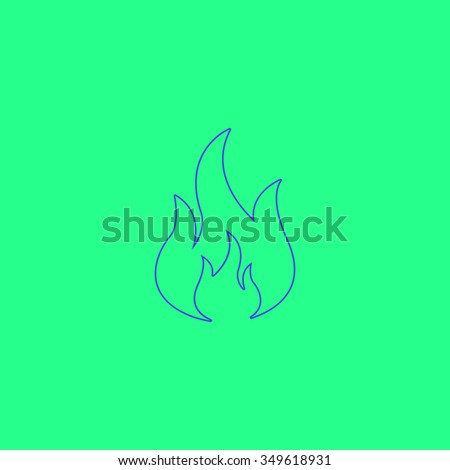 Fire. Simple outline illustration icon on green background - stock photo