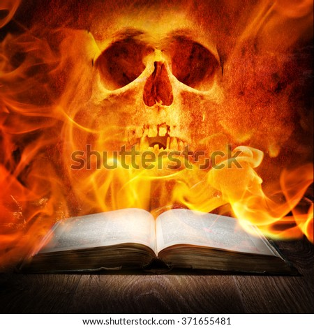 Fire skull and book - stock photo