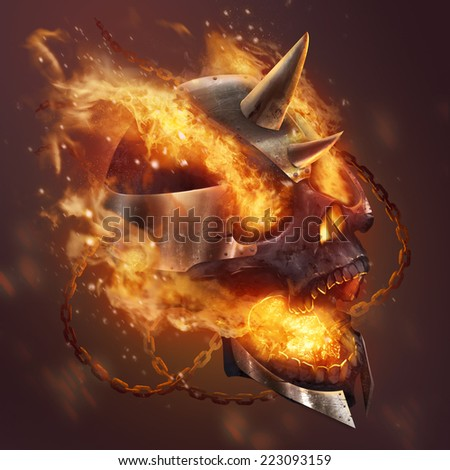 Fire skull. Fantasy metal plate helmet skull with chains in fire illustration. - stock photo