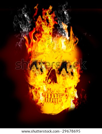 Fire skull on dark black background - stock photo