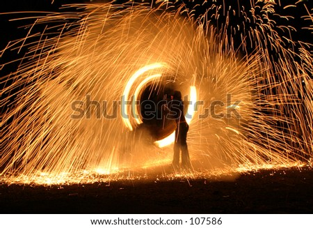 Fire Spinners - stock photo