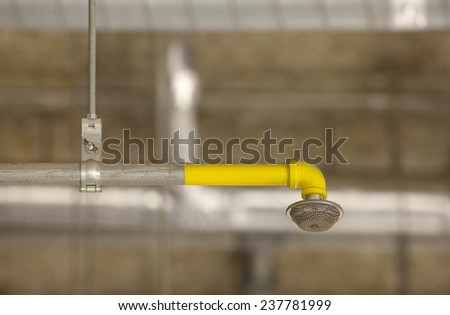 Fire sprinkler system on concrete ceiling in the building  - stock photo