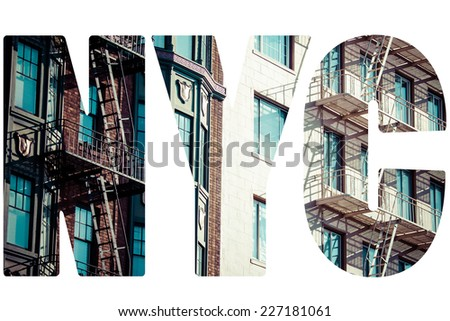 Fire steps on front brick building in Brooklyn, New York. - stock photo