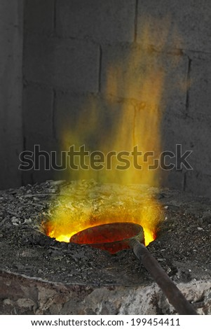 Fire stream from furnace