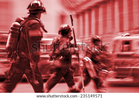 fire suppression and mine victim assistance and red tonality - stock photo