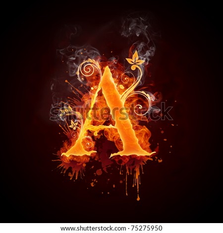 Fire Swirl Letter A - stock photo