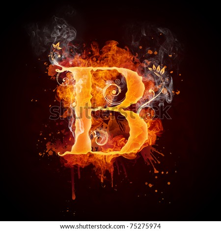 Fire Swirl Letter B - stock photo
