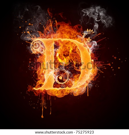 Fire Swirl Letter D - stock photo