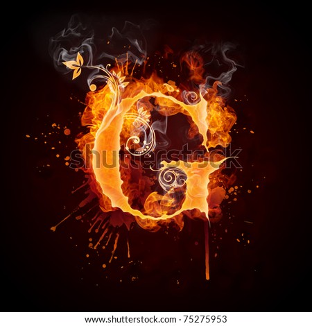 Fire Swirl Letter G - stock photo