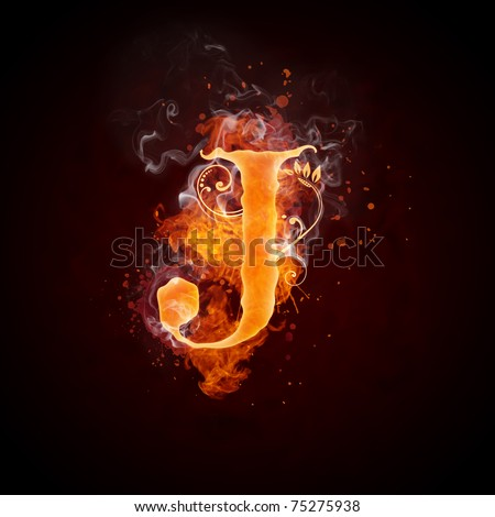 Fire Swirl Letter J - stock photo