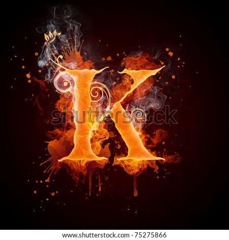 Fire Swirl Letter K - stock photo