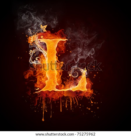 Fire Swirl Letter L - stock photo