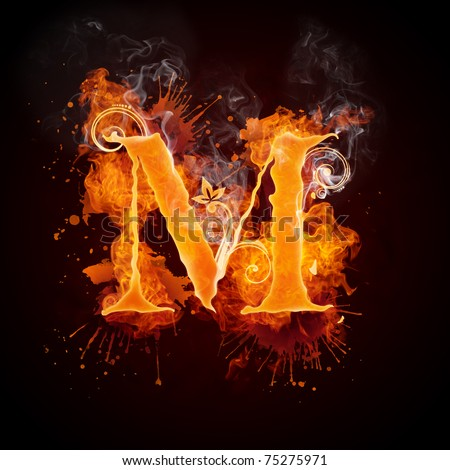 Fire Swirl Letter M - stock photo