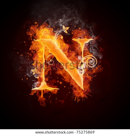 Fire Swirl Letter N - stock photo