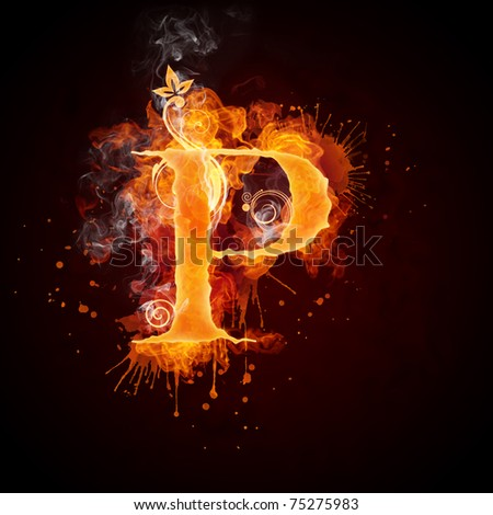 Fire Swirl Letter P - stock photo