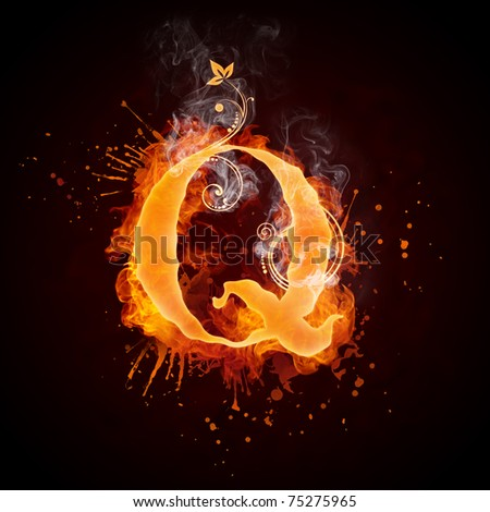 Fire Swirl Letter Q - stock photo