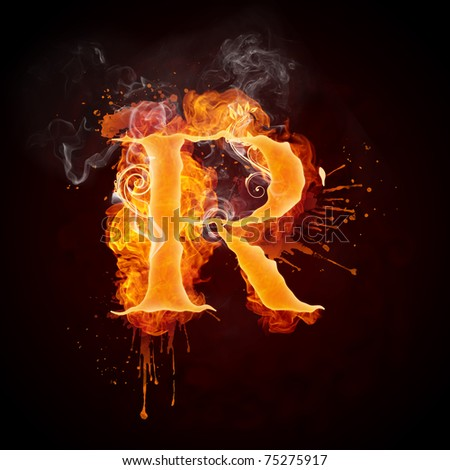 Fire Swirl Letter R - stock photo