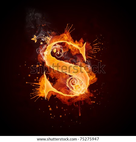 Fire Swirl Letter S - stock photo