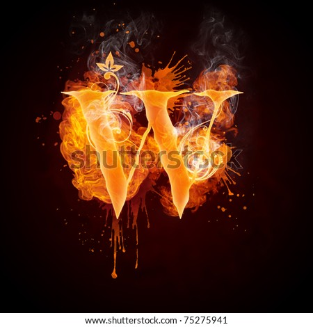Fire Swirl Letter W - stock photo