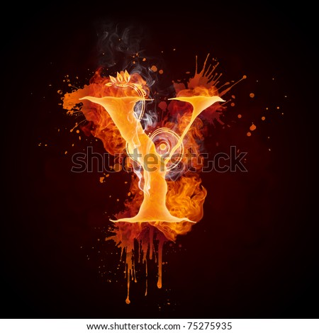Fire Swirl Letter Y - stock photo