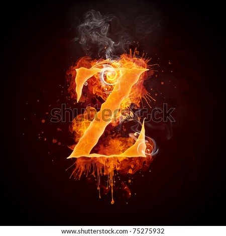 Fire Swirl Letter Z - stock photo