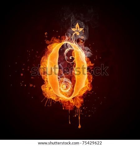 Fire Swirl Number ZERO - stock photo