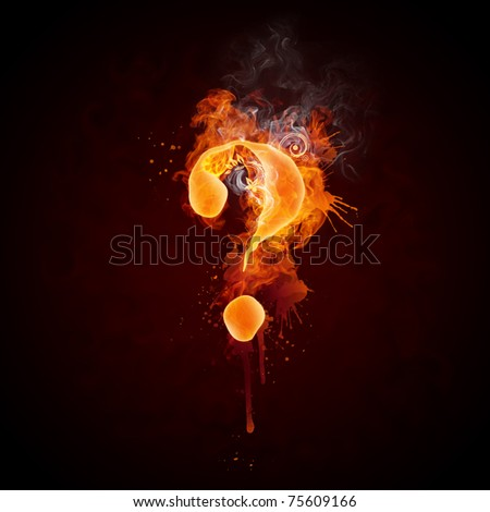 Fire Swirl Question Mark - stock photo