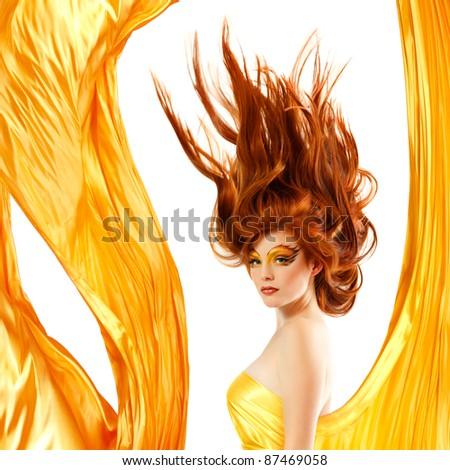 fire teenager girl beautiful red hair enjoying - stock photo