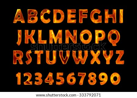 fire text collection. Alphabet of Fire - stock photo