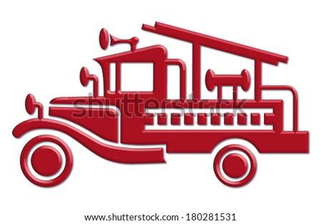 fire truck car icon,  raster version - stock photo