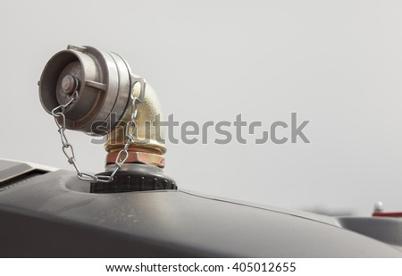 Fire truck hydrant- hose connector, water faucet. - stock photo
