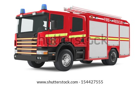fire truck isolated - stock photo