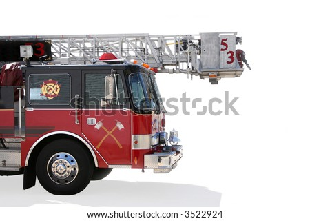 Fire truck isolated on white background. - stock photo