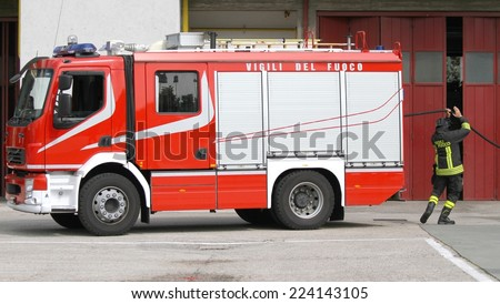 fire truck of Italian firefighter during exercise in fire station - stock photo