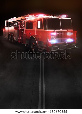 Fire truck on scene with lights. Room for text or copy space. Part of a first responder series. - stock photo