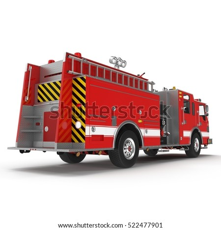 Fire truck or engine Isolated on White. Rear view. 3D illustration