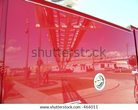 Fire Truck Reflection - stock photo