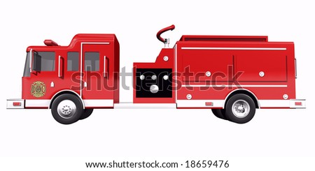 Fire truck side view on white background