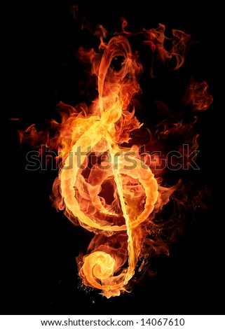 Fire violin key sign - stock photo