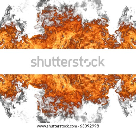 Fire wall on white background - stock photo