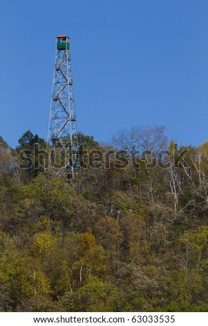 Fire Watch Tower In Autumn - stock photo