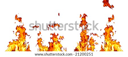 fire with great flames on white background