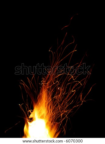 Fire with sparks - stock photo